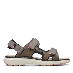 Clarks Womens Un Roam Step Taupe Nubuck Sandals